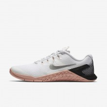 Womens White/Rust Pink/Black/Metallic Silver Nike Metcon 4 Training Shoes 924593-100