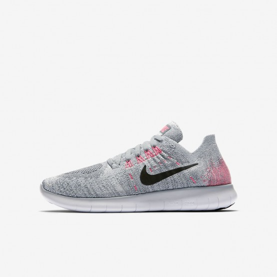 Boys Wolf Grey/Pure Platinum/Cool Grey/Black Nike Free RN Running Shoes 881974-001