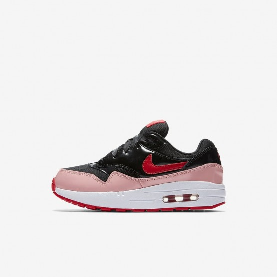 Girls Black/Bleached Coral/Speed Red Nike Air Max 1 Lifestyle Shoes AO1027-001