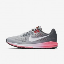 Womens Dark Grey/Wolf Grey/Hot Punch/White Nike Air Zoom Running Shoes 904701-002