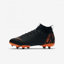 Boys Black/White/Total Orange Nike Jr. Superfly VI Soccer Cleats AH7337-081