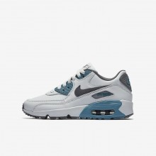 Boys Pure Platinum/Noise Aqua/Dark Grey/Cool Grey Nike Air Max 90 Lifestyle Shoes 833412-018