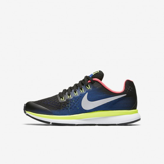 Boys Black/Volt/Racer Blue/Chrome Nike Zoom Pegasus Running Shoes 881953-005