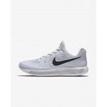 Womens White/Pure Platinum/Wolf Grey/Black Nike LunarEpic Low Running Shoes 863780-100