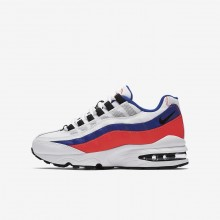 Boys White/Solar Red/Ultramarine/Black Nike Air Max 95 Lifestyle Shoes 905348-103