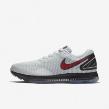 Mens Pure Platinum/Black/University Red Nike Zoom All Out Running Shoes AJ0035-006