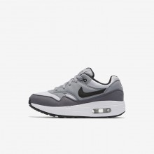 Boys White/Wolf Grey/Gunsmoke/Black Nike Air Max 1 Lifestyle Shoes 807603-108
