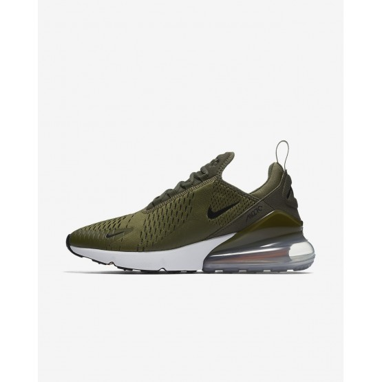 Mens Medium Olive/Total Orange/White/Black Nike Air Max 270 Lifestyle Shoes AH8050-201