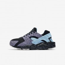 Boys Black/Purple Pulse/Summit White/Lagoon Pulse Nike Huarache Lifestyle Shoes AJ3690-001