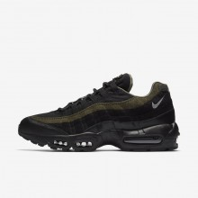 Mens Black/Cargo Khaki/Flat Silver Nike Air Max 95 Lifestyle Shoes AH8444-001