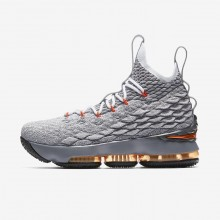 Boys Black/Dark Grey/Wolf Grey/Safety Orange Nike LeBron 15 Basketball Shoes 922811-080