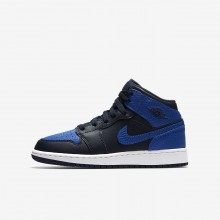 Nike Air Jordan 1 Lifestyle Shoes For Boys Obsidian/Summit White/Game Royal 554725-412