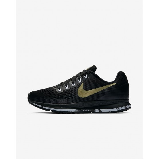 Womens Black/Anthracite/White/Metallic Gold Star Nike Air Zoom Running Shoes 880560-017