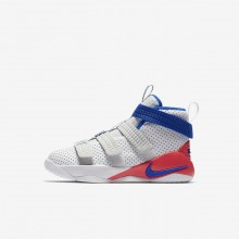 Boys White/Infrared/Pure Platinum/Racer Blue Nike LeBron Soldier XI Basketball Shoes AJ7576-101