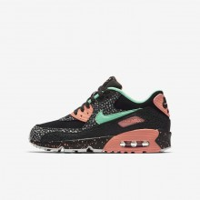 Boys Black/Crimson Pulse/Vast Grey/Green Glow Nike Air Max 90 Lifestyle Shoes AJ2776-001