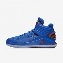 Mens Photo Blue/Metallic Silver/Team Orange Nike Air Jordan XXXII Basketball Shoes AA1253-400