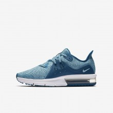 Girls Green Abyss/Bleached Aqua/White/Igloo Nike Air Max Sequent Running Shoes 922885-300