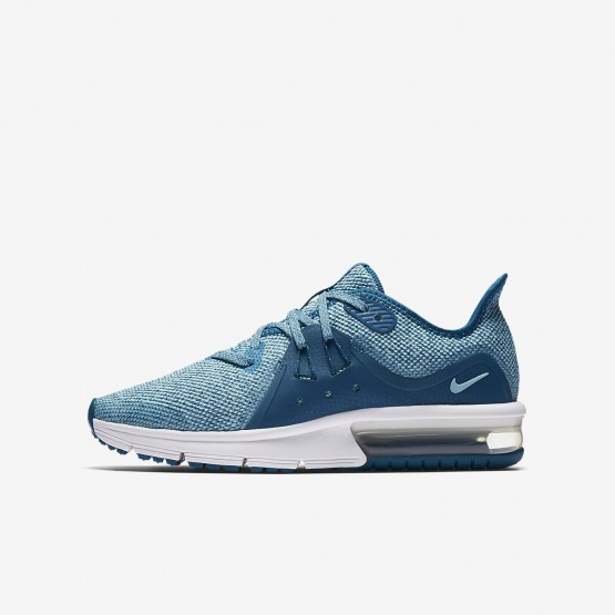 Nike Air Max Sequent Running Shoes For Girls Green Abyss/Bleached Aqua/White/Igloo 922885-300
