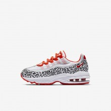 Boys White/Black/Bright Crimson Nike Air Max 95 Lifestyle Shoes AQ0905-100