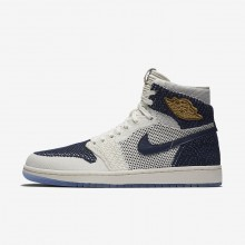 Nike Air Jordan 1 Lifestyle Shoes For Men Sail/Midnight Navy/Metallic Gold AH7233-105