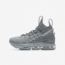 Boys Wolf Grey/Cool Grey/Metallic Gold Nike LeBron 15 Basketball Shoes 922811-005