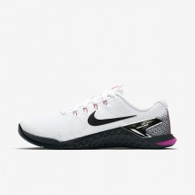 Womens White/Fuchsia Blast/Laser Orange/Black Nike Metcon 4 Training Shoes 924593-101