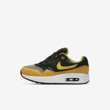 Boys Dark Stucco/Black/Mineral Yellow/Vivid Sulfur Nike Air Max 1 Lifestyle Shoes 807603-007
