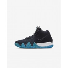 Boys Dark Obsidian/Black Nike Kyrie 4 Basketball Shoes AA2897-401