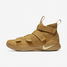 Womens Mineral Gold/Metallic Gold Nike LeBron Soldier XI Basketball Shoes 897646-700