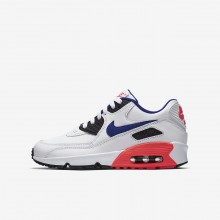 Boys White/Solar Red/Black/Ultramarine Nike Air Max 90 Lifestyle Shoes 833412-112