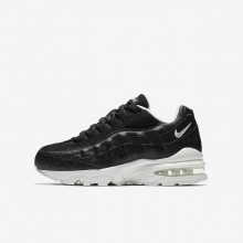 Boys Black/Summit White Nike Air Max 95 Lifestyle Shoes 922173-002