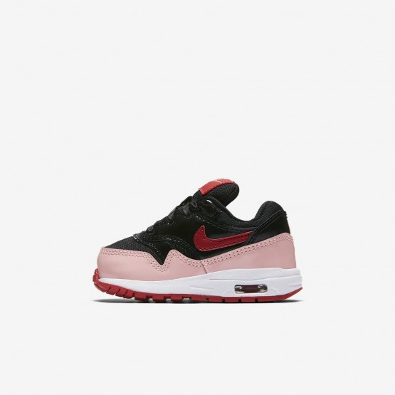 Girls Black/Bleached Coral/Speed Red Nike Air Max 1 Lifestyle Shoes AO1028-001