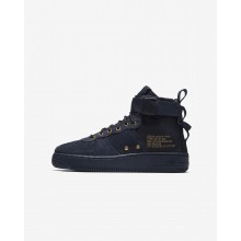 Boys Obsidian/Black Nike SF Air Force 1 Lifestyle Shoes AJ0424-400