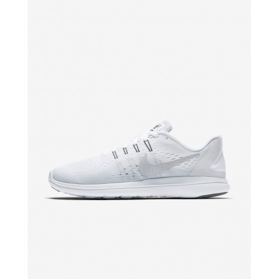 Womens White/Pure Platinum/Cool Grey/Metallic Silver Nike Flex 2017 RN Running Shoes 898476-100