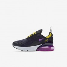 Boys Black/Tour Yellow/Hyper Magenta Nike Air Max 270 Lifestyle Shoes AO2372-005