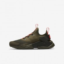 Nike Huarache Lifestyle Shoes For Boys Medium Olive/Sequoia/Total Crimson 943344-200