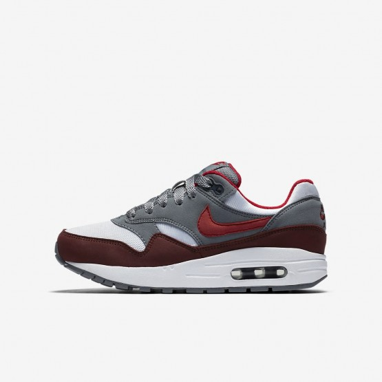 Boys White/Cool Grey/Team Red/University Red Nike Air Max 1 Lifestyle Shoes 807602-109