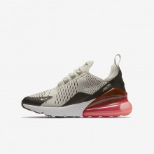 Boys Light Bone/Black/Hot Punch/White Nike Air Max 270 Lifestyle Shoes 943345-002