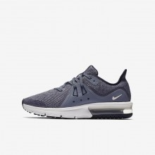 Boys Obsidian/Dark Obsidian/White/Metallic Dark Grey Nike Air Max Sequent Running Shoes 922884-400