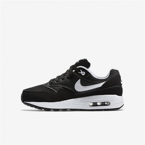Boys Black/White Nike Air Max 1 Lifestyle Shoes 807602-001