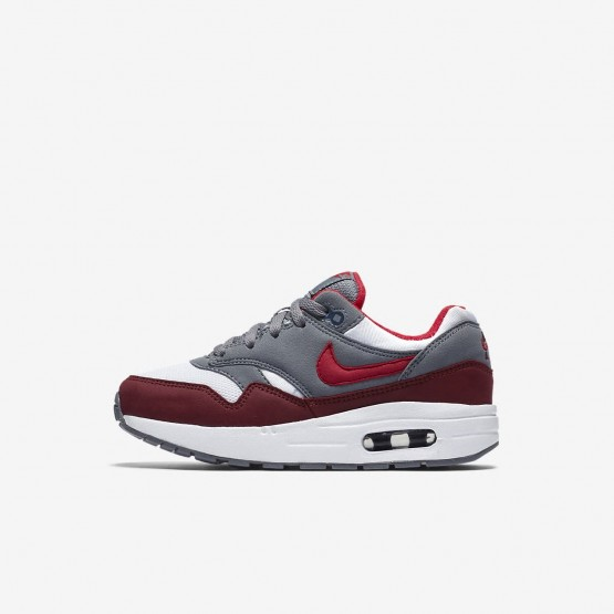 Boys White/Cool Grey/Team Red/University Red Nike Air Max 1 Lifestyle Shoes 807603-109