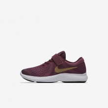 Nike Revolution 4 Running Shoes For Girls Tea Berry/Bordeaux/White/Metallic Gold 943307-601