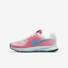 Girls Pink/White/Black/Chlorine Blue Nike Zoom Pegasus Running Shoes 881954-100