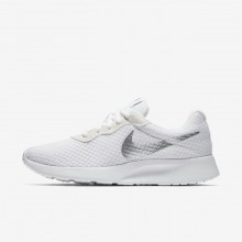 Womens White/Metallic Silver Nike Tanjun Lifestyle Shoes 812655-101