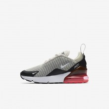 Boys Light Bone/Black/Hot Punch/White Nike Air Max 270 Lifestyle Shoes AO2372-002