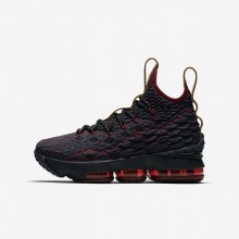 Boys Dark Atomic Teal/Team Red/Muted Bronze/Ale Brown Nike LeBron 15 Basketball Shoes 922811-300