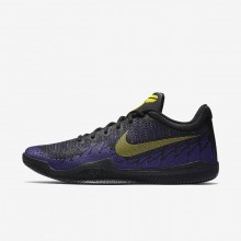 Mens Black/Court Purple/Tour Yellow Nike Mamba Rage Basketball Shoes 908972-024