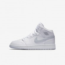 Nike Air Jordan 1 Lifestyle Shoes For Boys White/Pure Platinum 554725-108