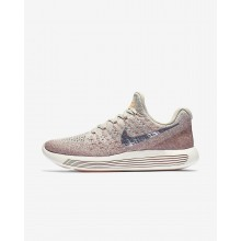 Womens Pale Grey/Sunset Glow/Taupe Grey/Metallic Silver Nike LunarEpic Low Running Shoes 863780-005