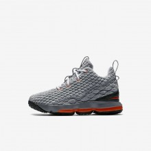 Boys Black/Dark Grey/Cool Grey/Safety Orange Nike LeBron 15 Basketball Shoes 922812-080